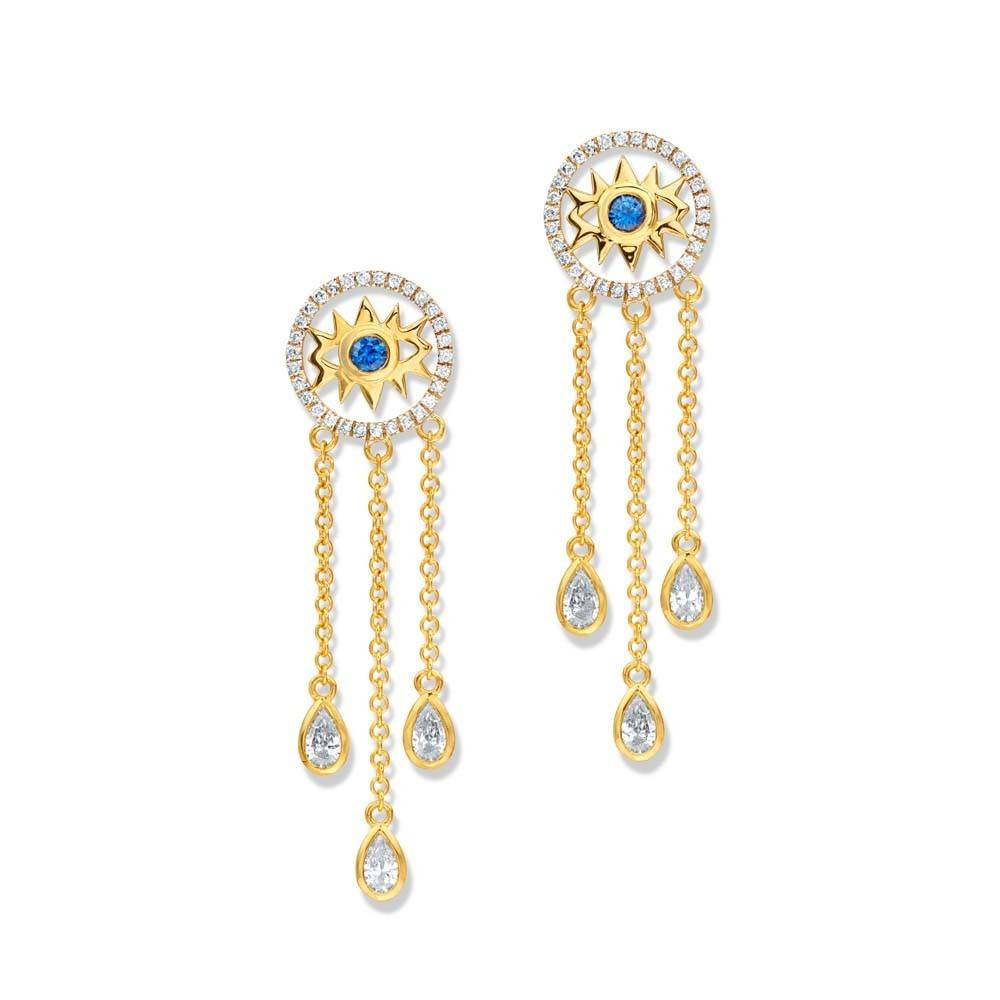 Buddha Mama Evil Eye Dainty gold dangle earrings with sapphires and diamonds