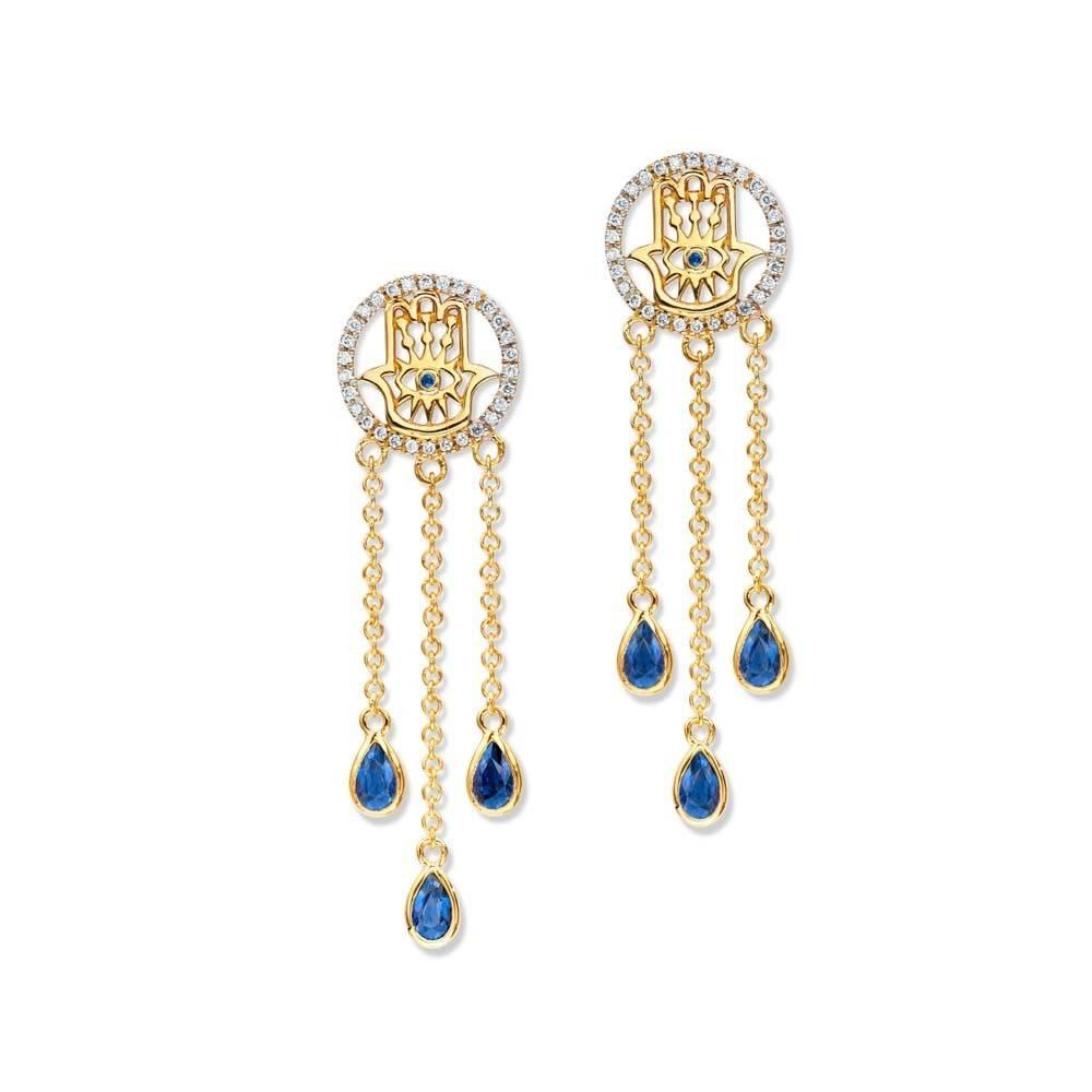 Buddha Mama Hamsa Dainty gold dangle earrings with sapphires and diamonds