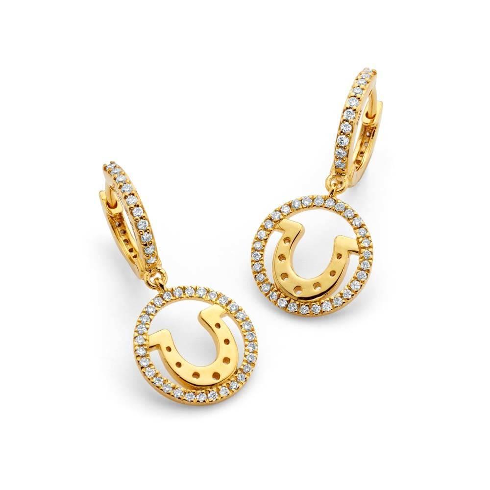 Buddha Mama Horseshoe gold huggie earrings with diamonds