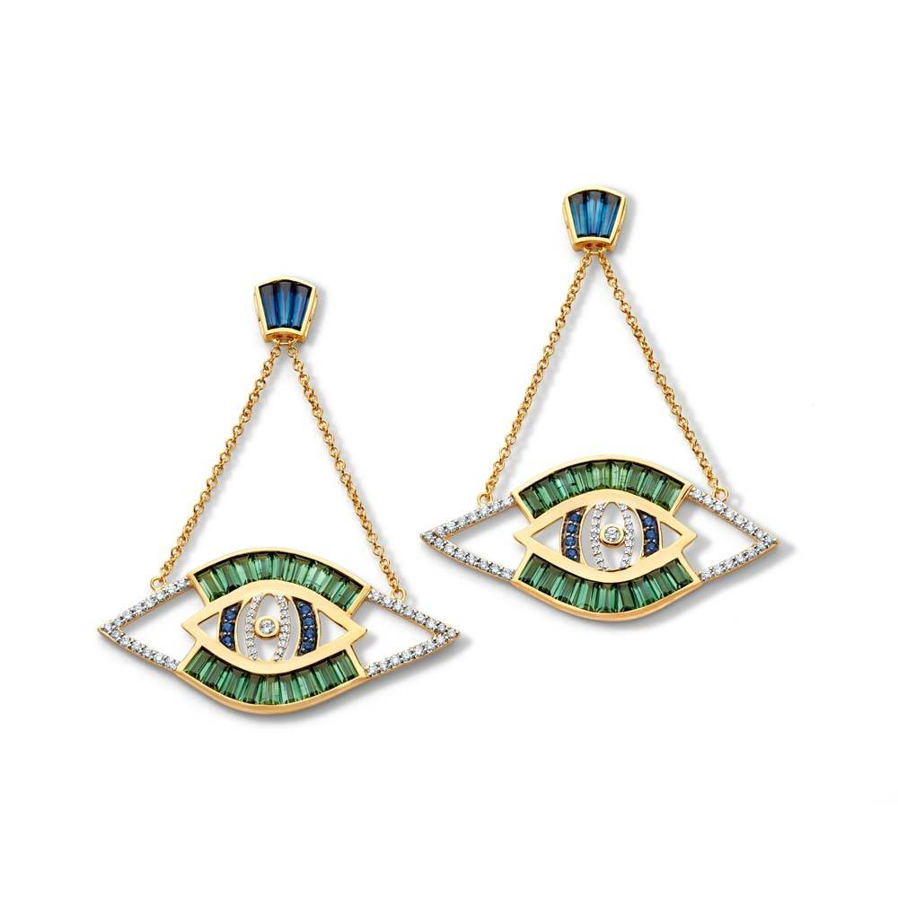 Buddha Mama Evil Eye Cut-Out gold earrings with tourmaline, sapphire and diamond