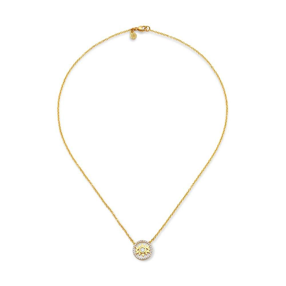 Buddha Mama Evil Eye Dainty gold necklace with diamonds