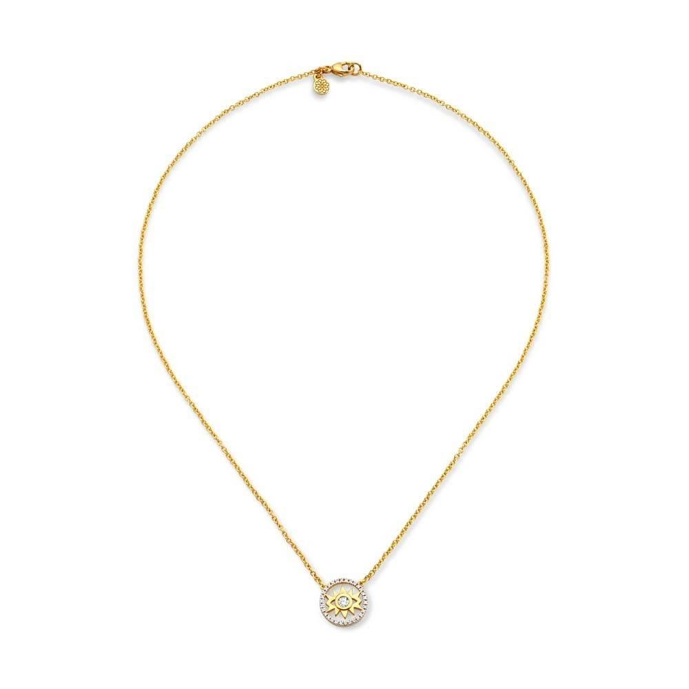 Buddha Mama Evil Eye Dainty gold necklace with diamonds