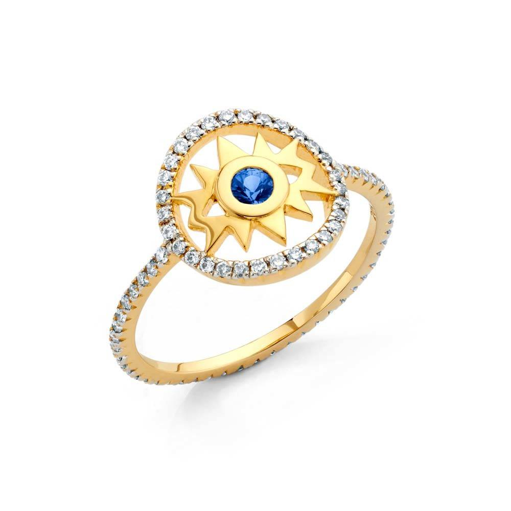 Buddha Mama Evil Eye gold ring with diamonds and sapphires