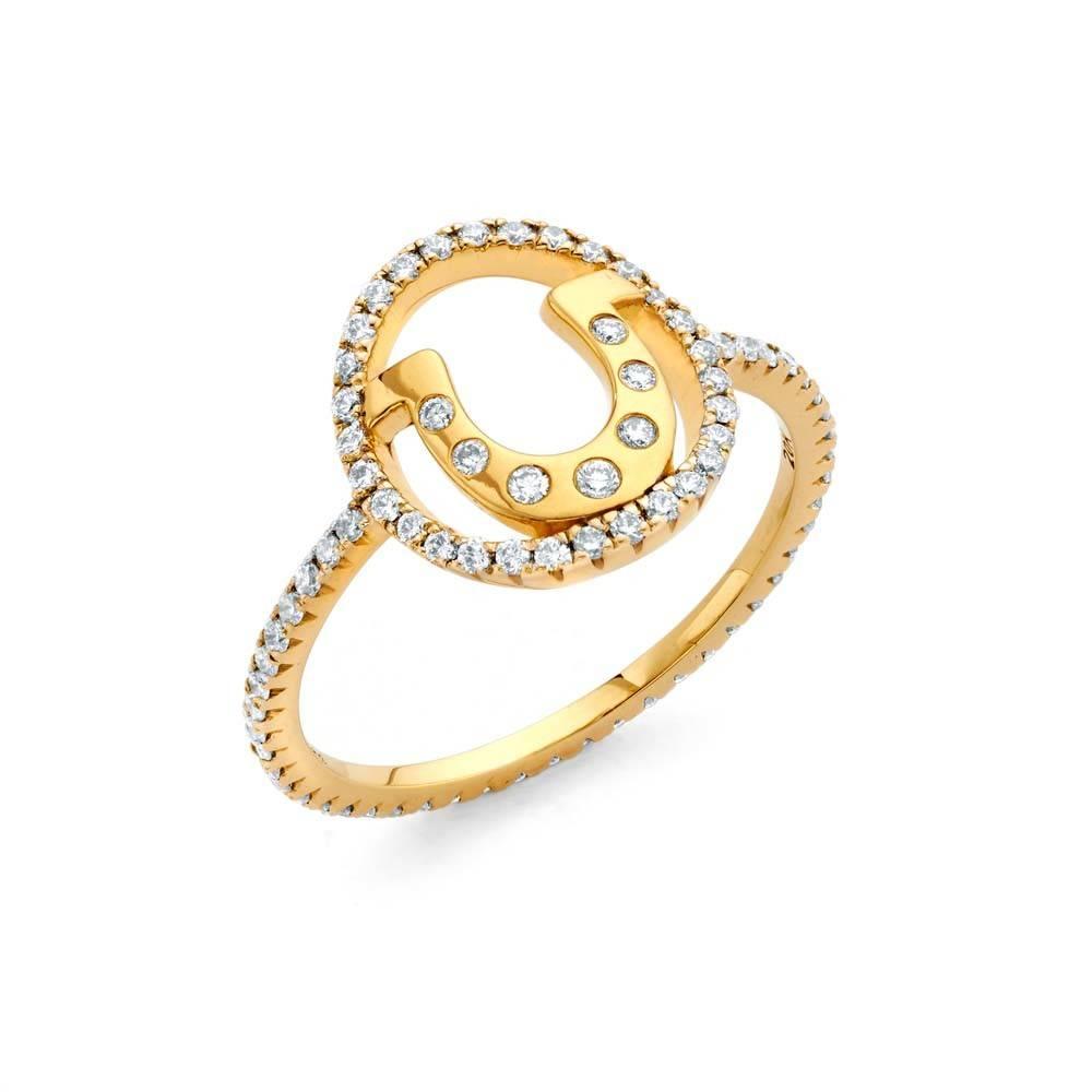 Buddha Mama Horseshoe gold ring with diamonds