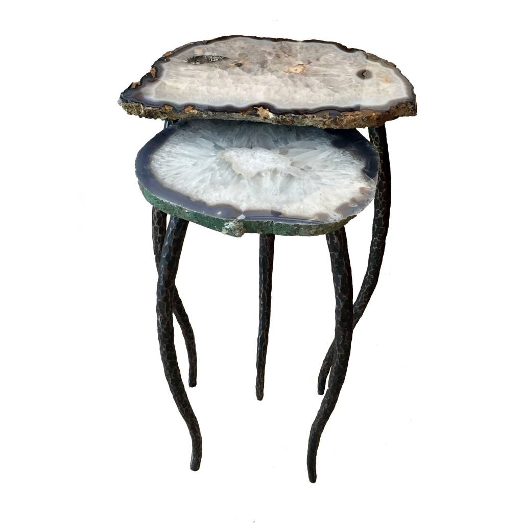 James Vilona Two Piece Nesting Table with Agate