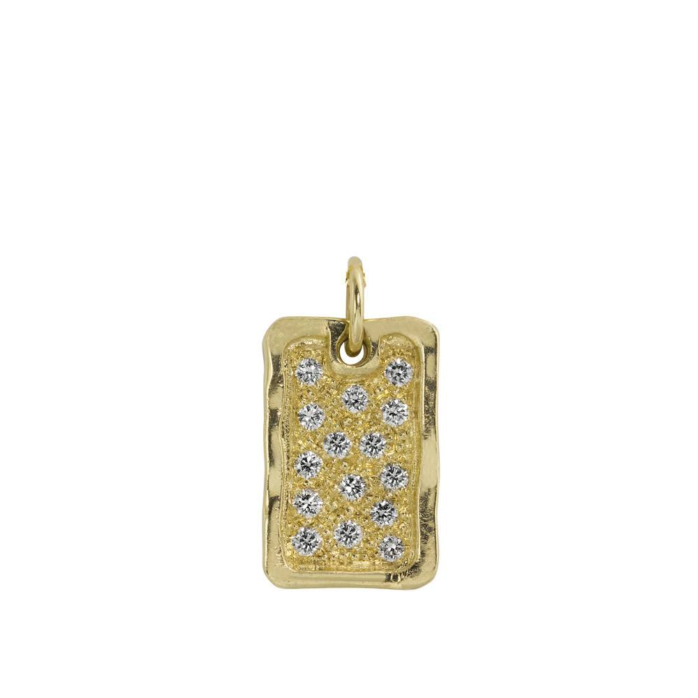 Julez Bryant Deft Small Dog Tag Pendant Yellow Gold