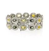 Nabil Mouzannar Wide double row gold bracelet with sapphires and diamonds