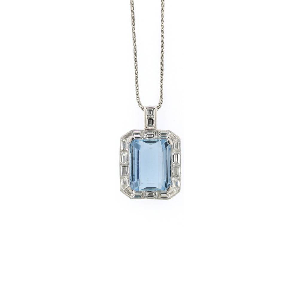 Nabil Mouzannar Emerald cut platinum pendant with aquamarine and diamonds
