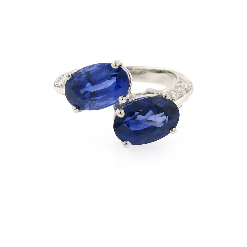 Nabil Mouzannar Bypass platinum ring with sapphires and diamonds