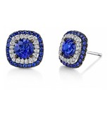 Omi Prive Duet Collection blue sapphire studs in white gold and diamonds