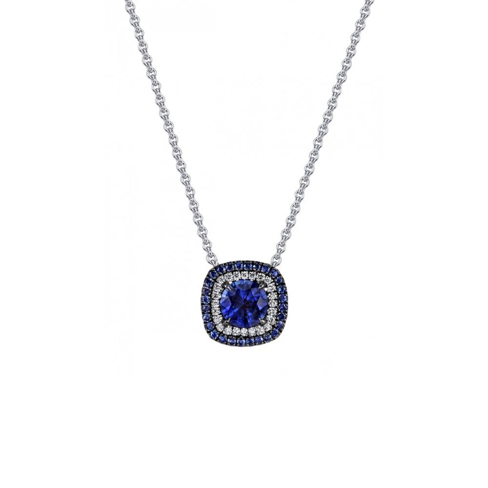 Omi Prive Duet Collection blue sapphire pendant necklace in white gold and diamonds