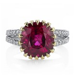 Omi Prive Monaco Collection cushion rubellite ring in platinum and yellow gold