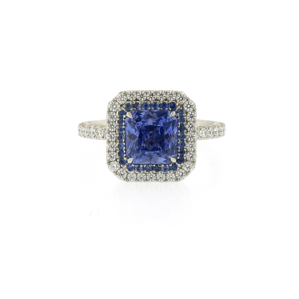 Omi Prive Duet Collection radiant cut blue sapphire ring in platinum