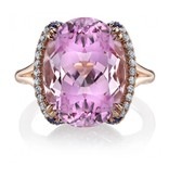 Omi Prive Sevilla Collection oval kunzite ring in rose gold
