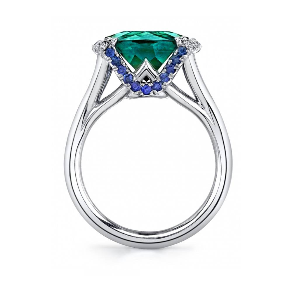Omi Prive Sevilla Collection cushion cut tourmaline ring in white gold