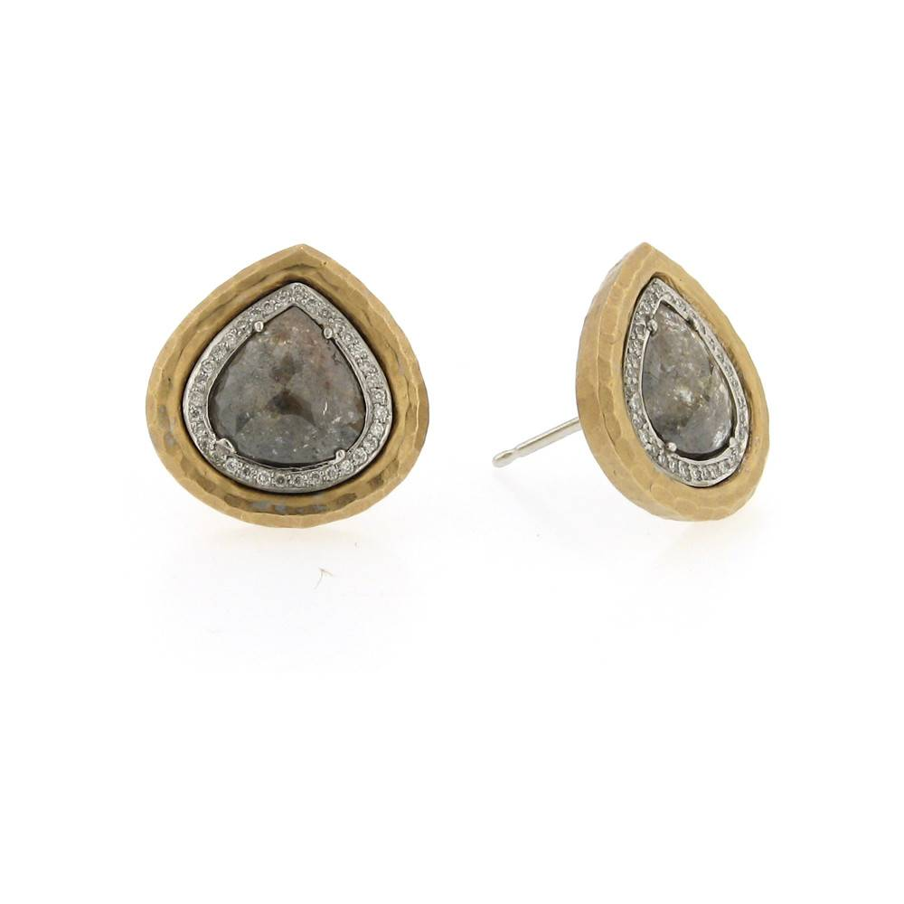 Pamela Froman Crushed Gold Frame Earrings