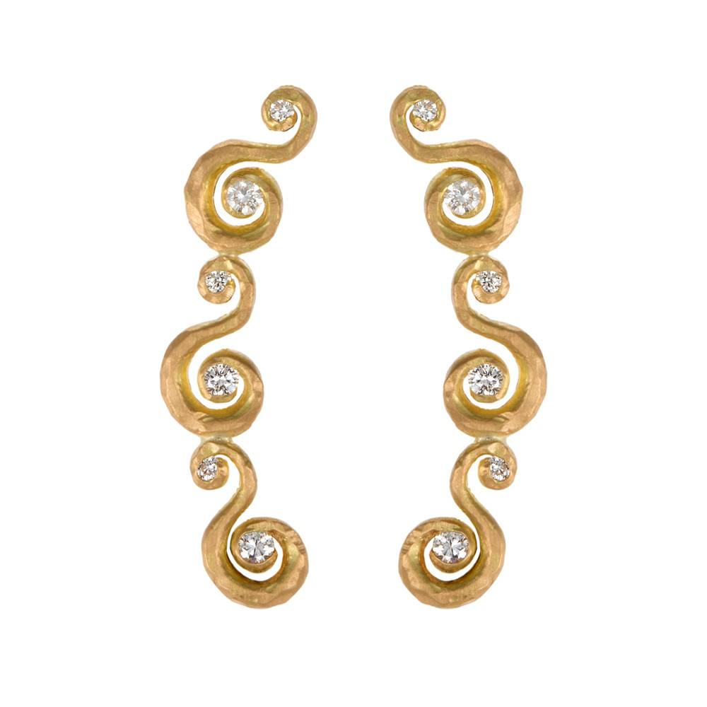 Pamela Froman Crushed Gold Dainty Arbesque Earrings