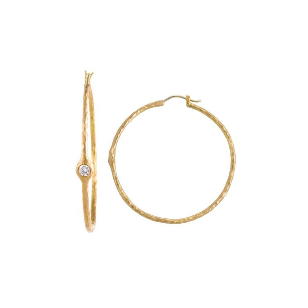 Pamela Froman Crushed Gold Headlight Hoop Earrings