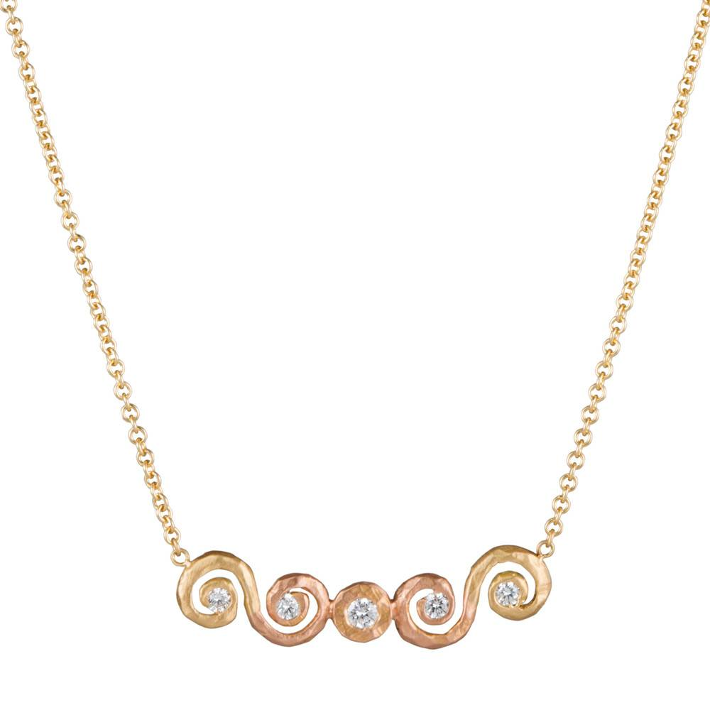 Pamela Froman Ombre Scroll Crushed Gold Bar Necklace