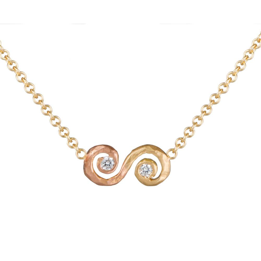 Pamela Froman Ombre Scroll Crushed Gold Necklace