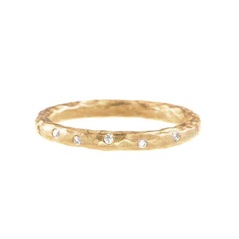 Pamela Froman Hammered Gold Get A Crush Stack Ring Yellow