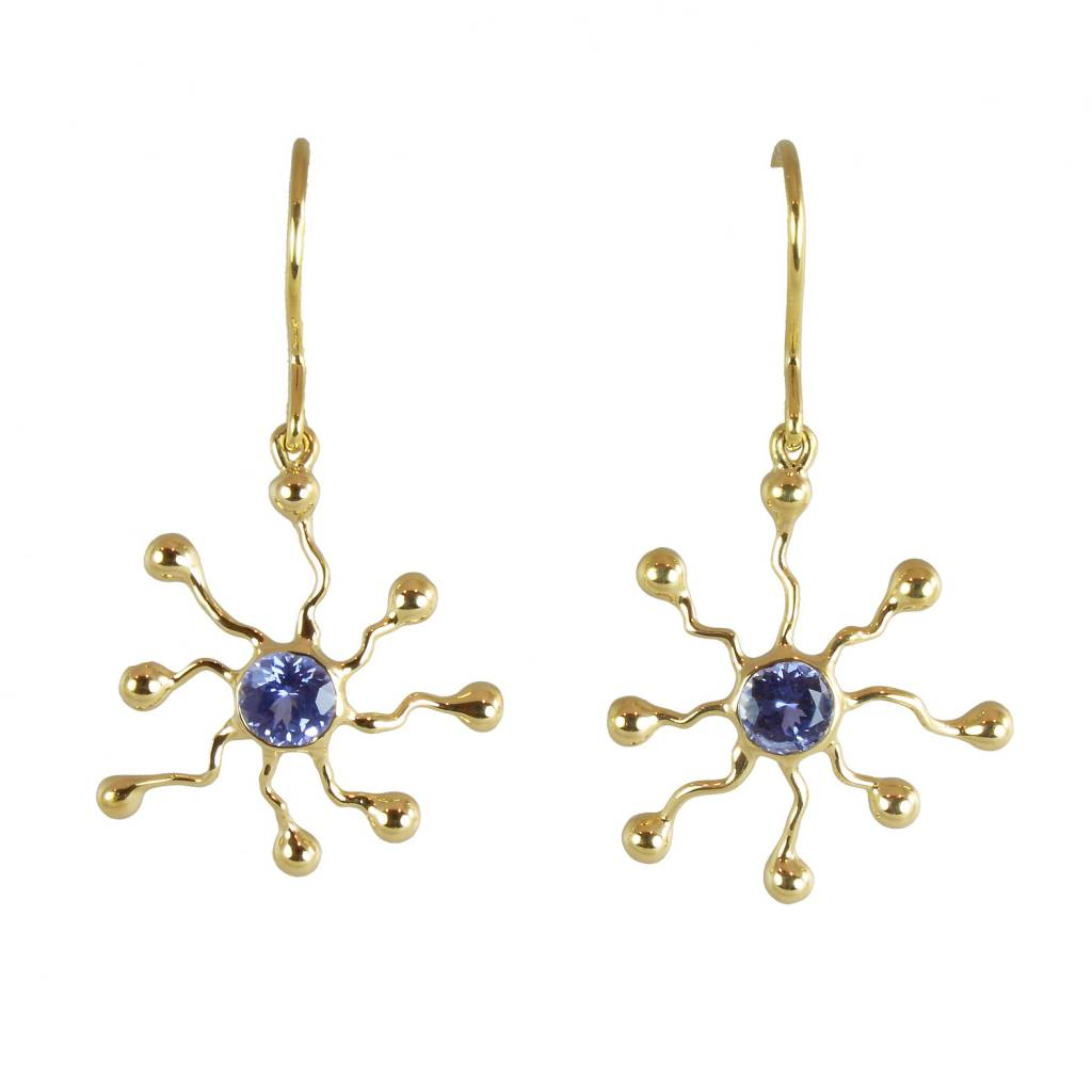 Patrick Mohs Islands gold drop wire earrings with sapphires