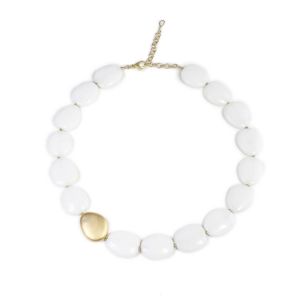 Patrick Mohs Pebble marble bead necklace with gold and diamonds accents