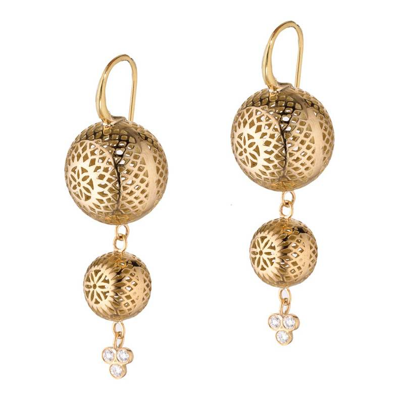 Ray Griffiths Double Drop Crownwork gold earrings with diamond