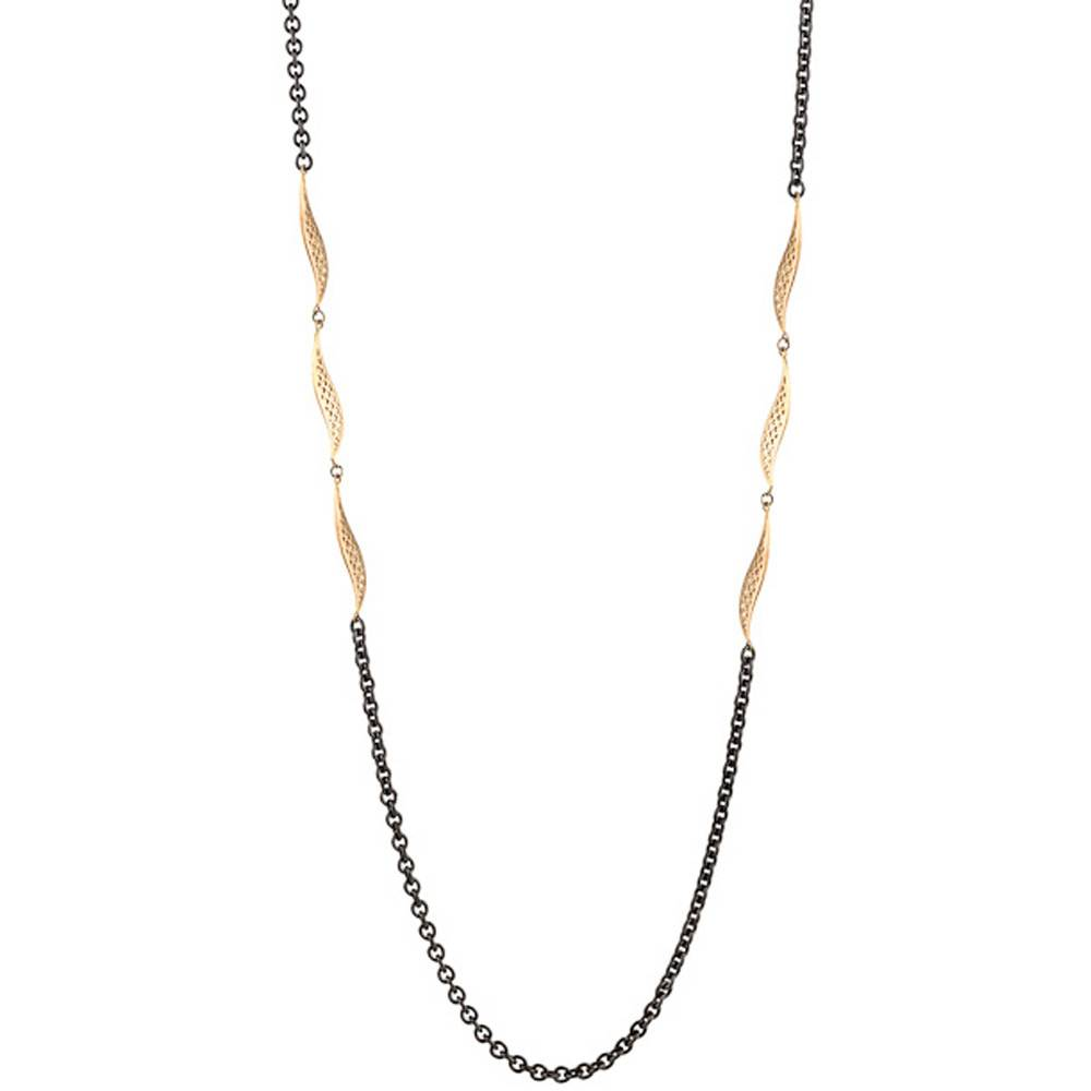 Ray Griffiths Crownwork Wave Link silver and gold chain necklace