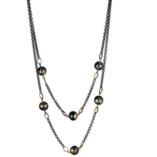 Ray Griffiths Crownwork Ball Wrap silver and gold chain necklace