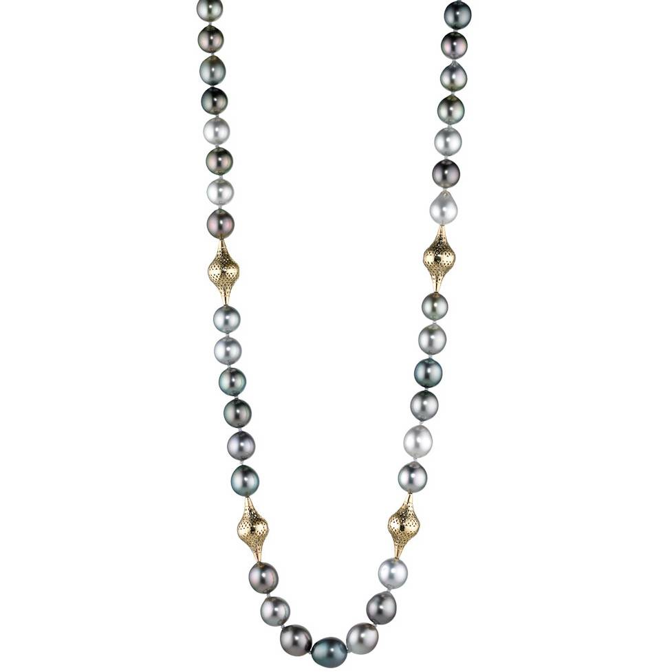 Ray Griffiths Crownwork Tahitian pearl and gold bead necklace