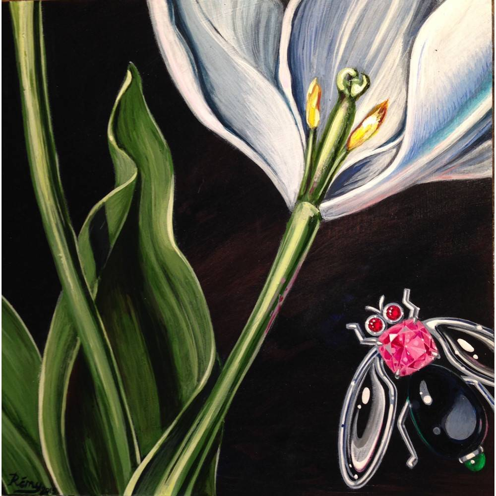Remy Rotenier White Tulip Close Up original painting