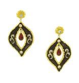 Victor Velyan Detachable Earrings with garnet drops