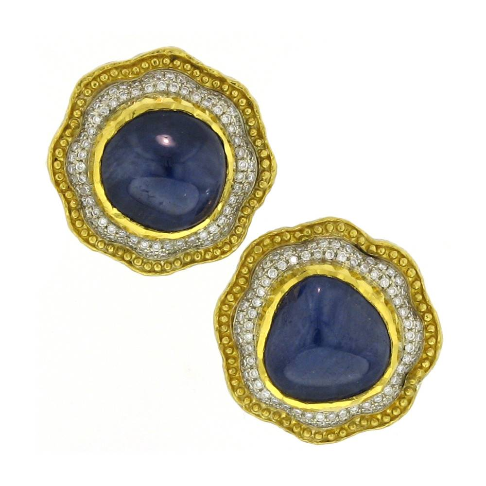 Victor Velyan Stud Earrings with blue sapphire