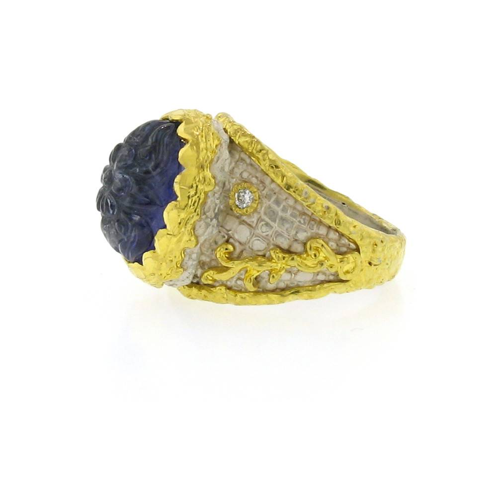 Victor Velyan Cocktail Ring with carved tanzanite