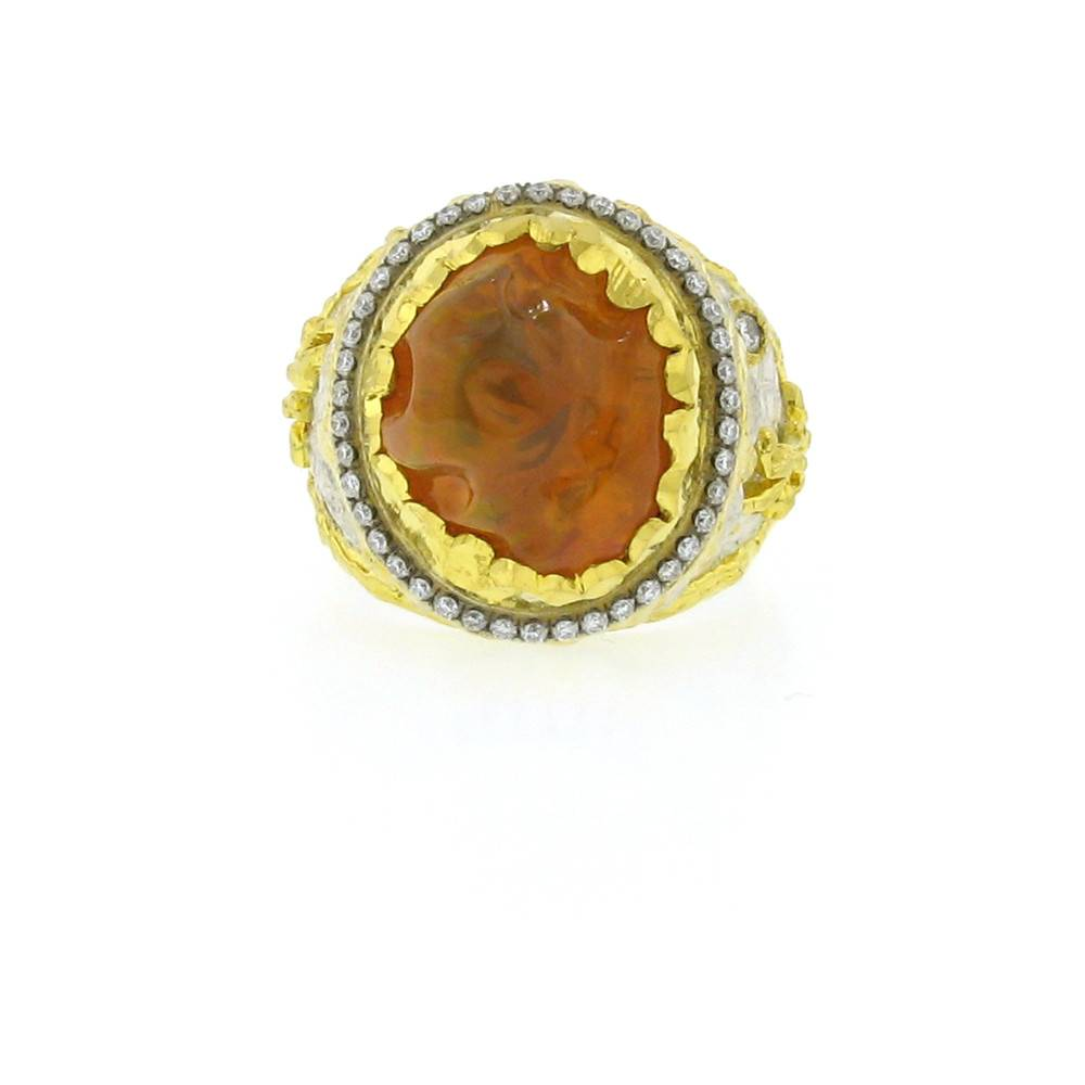 Victor Velyan Cocktail Ring with free form fire opal