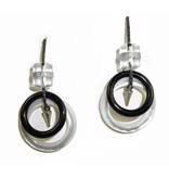 Simon Alcantara Alpha Pavonis Earrings with black agate, white mother of pearl & quartz