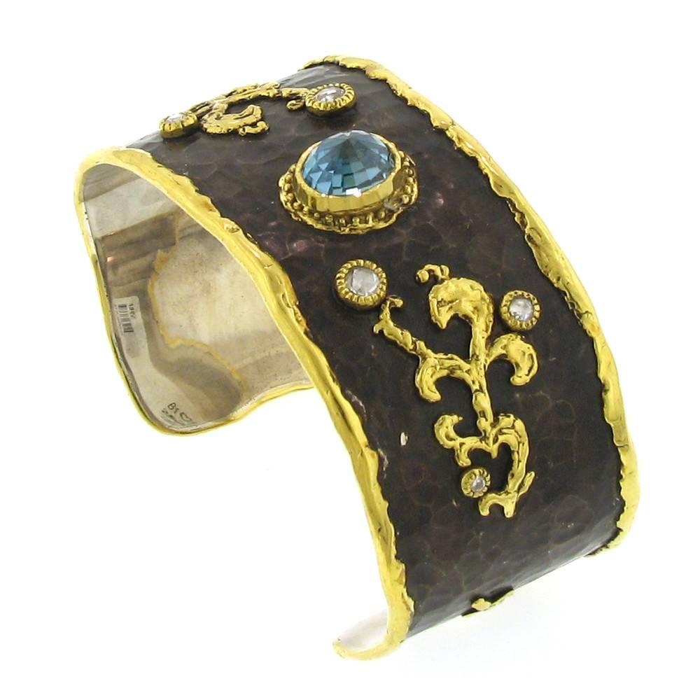 Victor Velyan Cuff Bracelet with Zircon