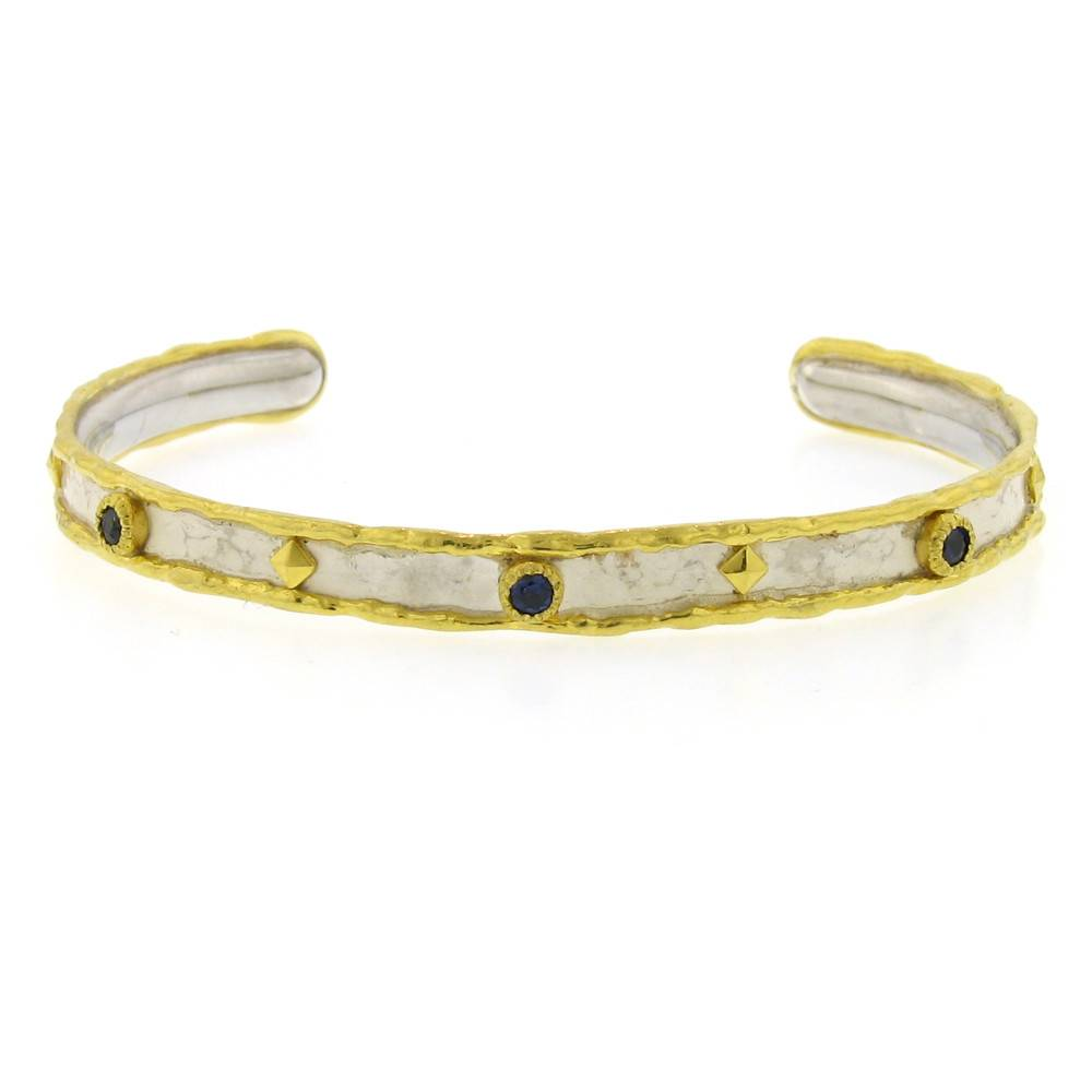Victor Velyan Cuff Bracelet with blue sapphires