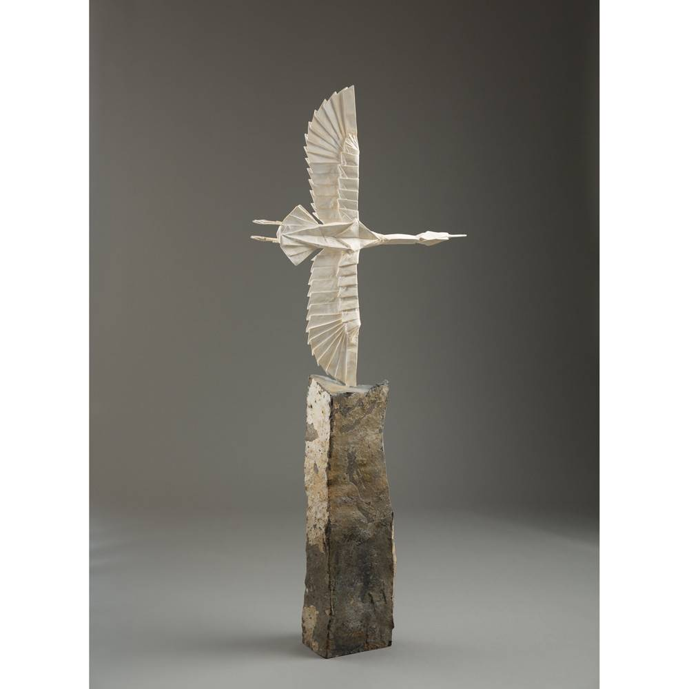 Kevin Box Crane Unfolded, Phoenix Rising, Opus #563 in aluminum