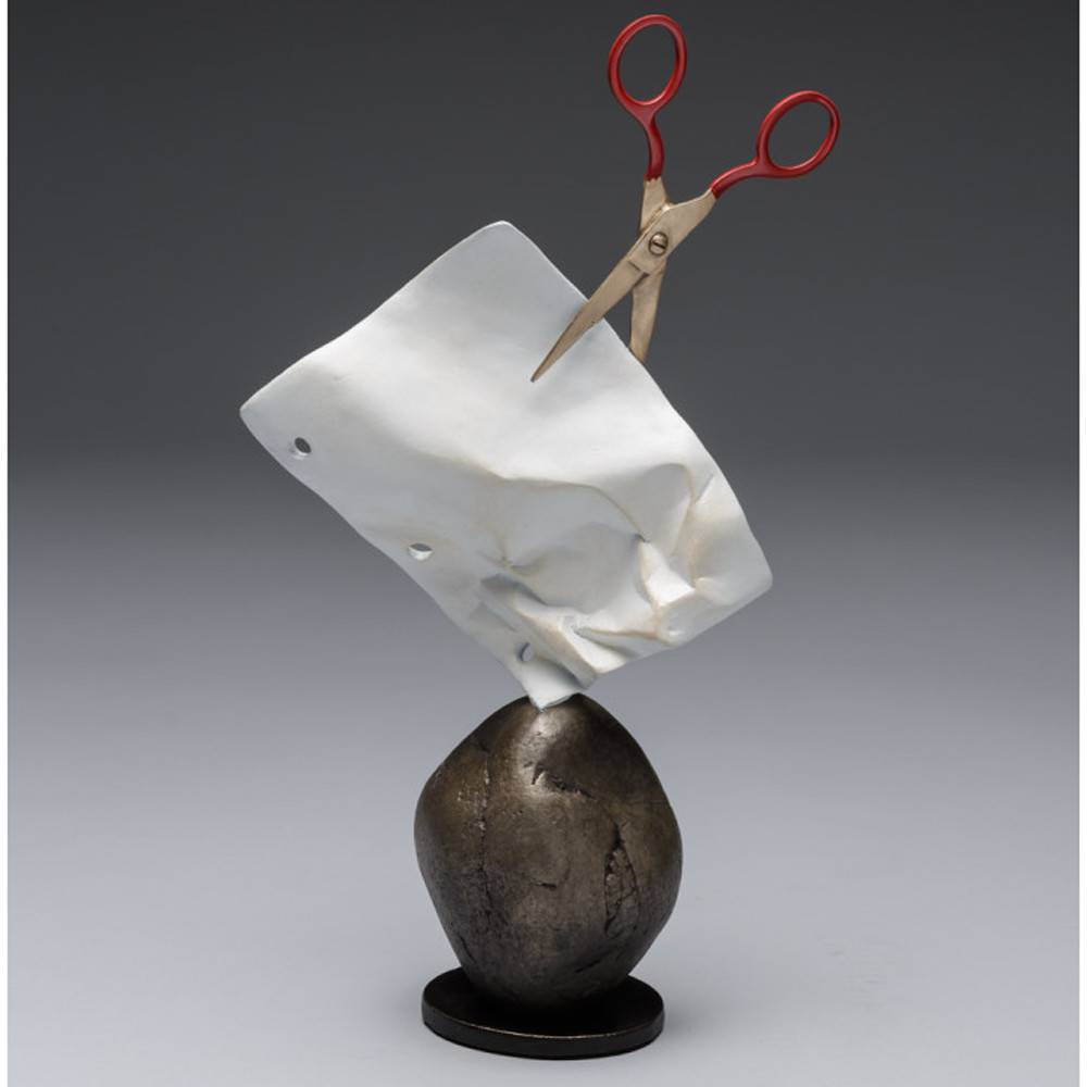 Kevin Box Rock, Paper, Scissors Maquette bronze & stainless steel