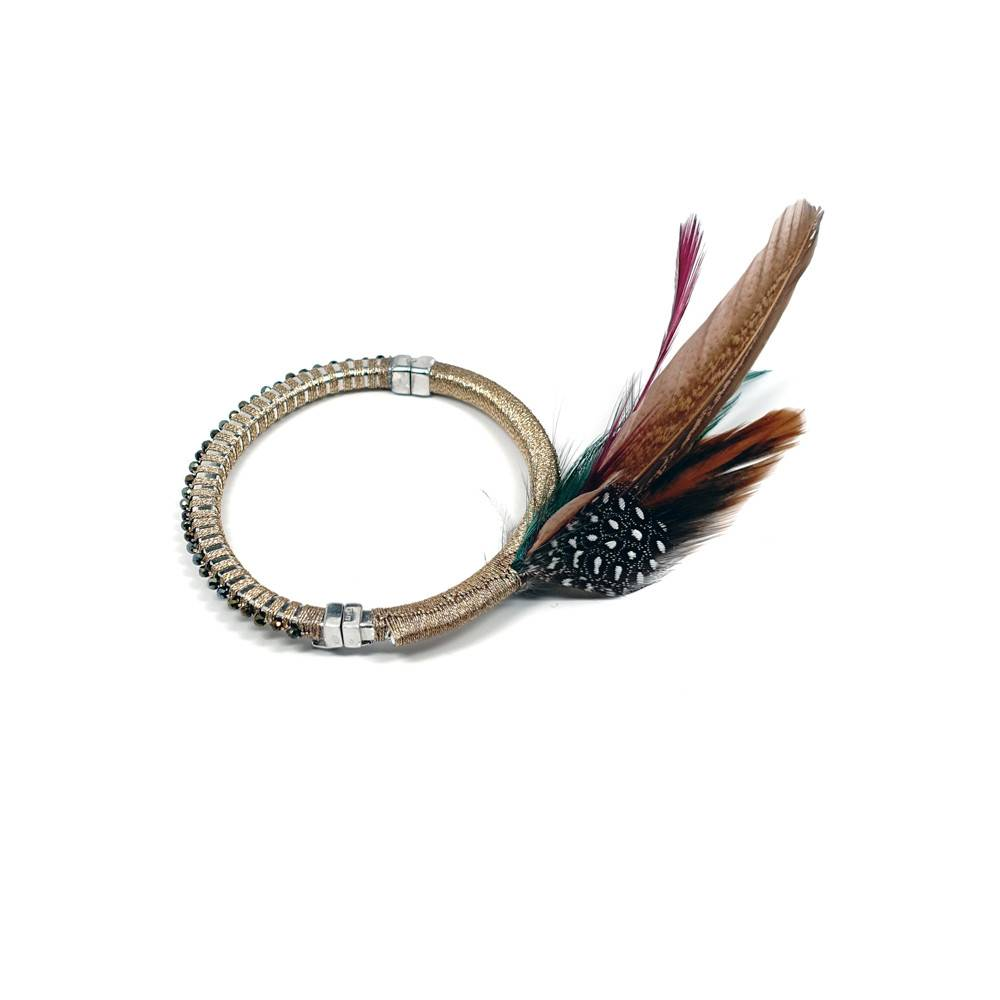 Simon Alcantara Numinous Bracelet with gold cord & feathers