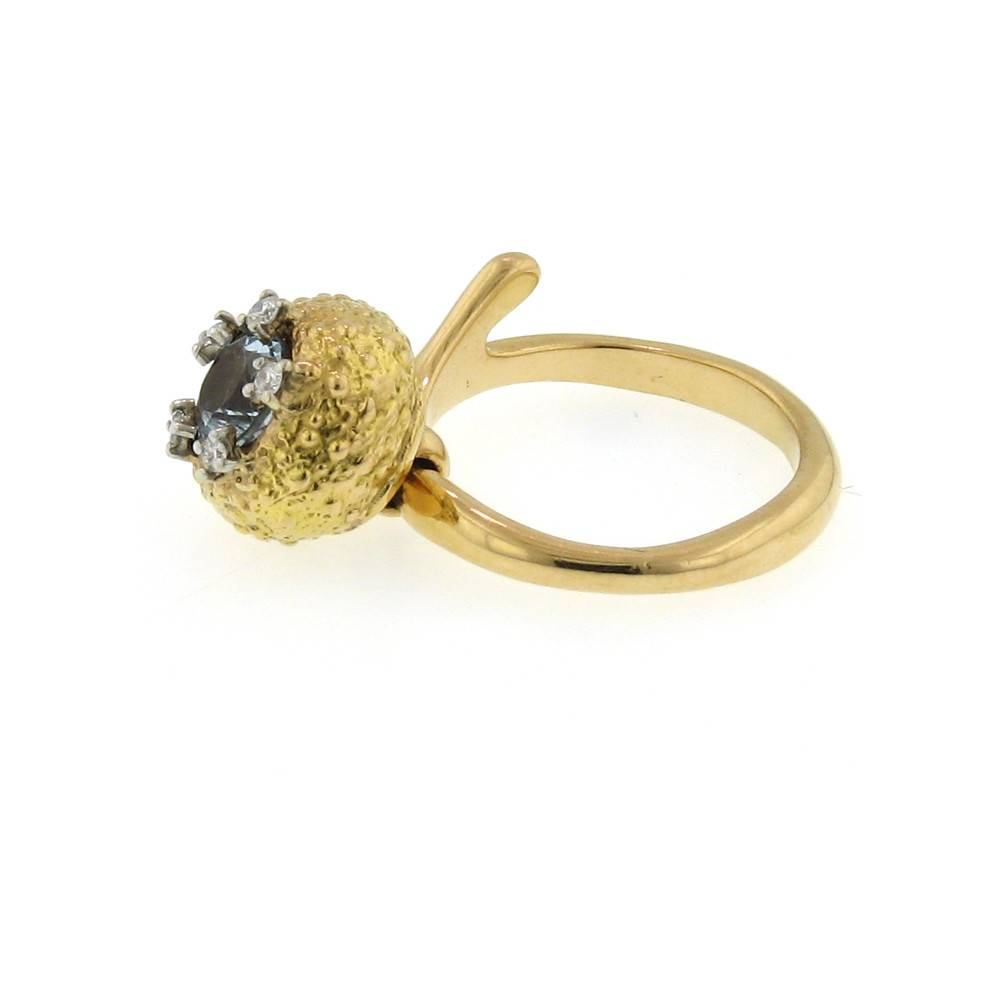 Federica Rettore Campanellino rose gold pinky ring with aquamarine and diamonds