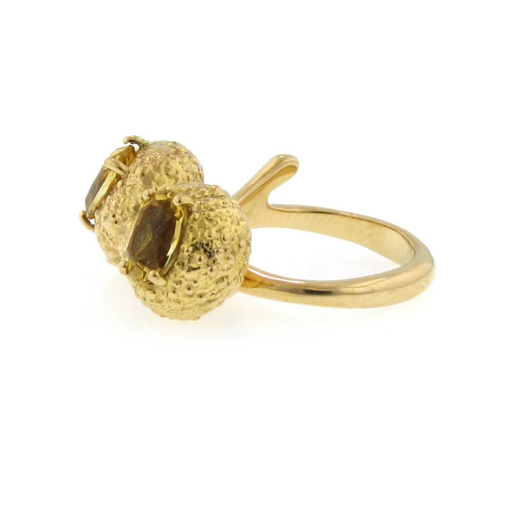 Federica Rettore Campanellino Double Stone rose gold pinky ring with citrine