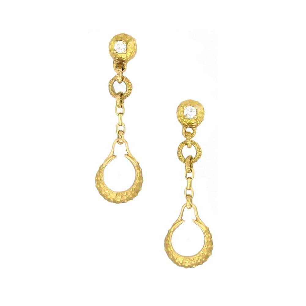 Federica Rettore Riccio gold drop earrings with diamonds