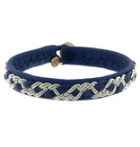 Maria Rudman Single Wrap blue leather and pewter bracelet