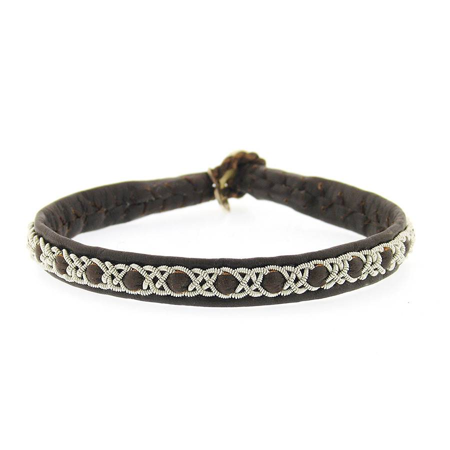 Maria Rudman Single Wrap brown leather and pewter bracelet