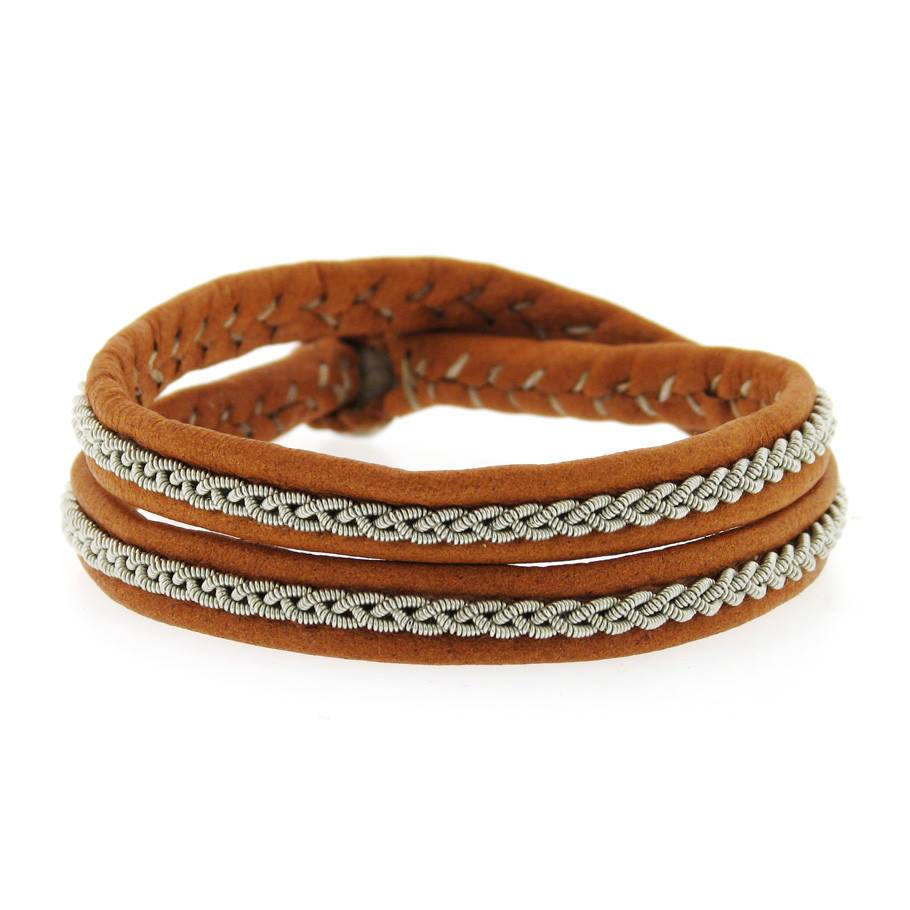 Maria Rudman Double Wrap brown leather and pewter bracelet