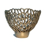 Branch Mushroom polished bronze votive holder