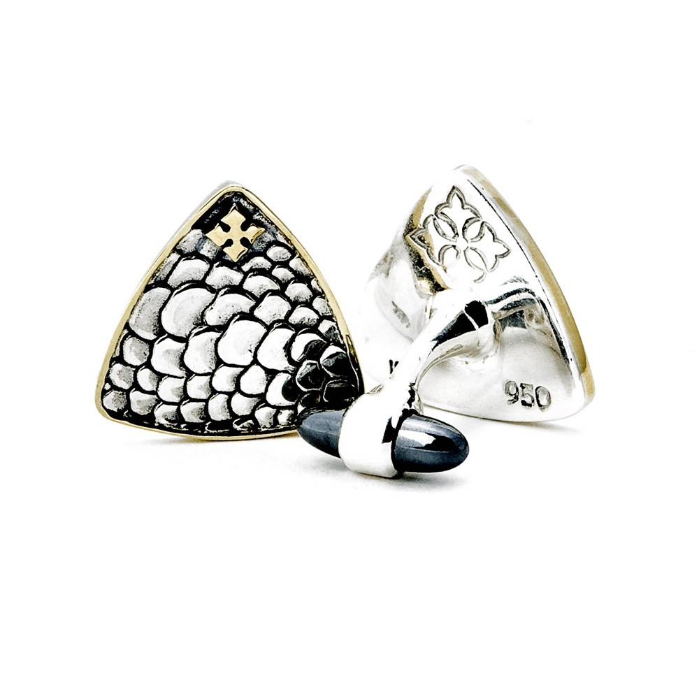 Kir Guitar Pick silver cufflinks with hematite